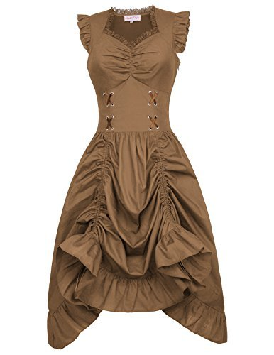 Belle Poque Steampunk Gothic Victorian Ruffled Dress for Wedding Party BP000364 (Medium, Cofffee)