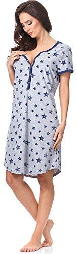 Italian Fashion IF Lactancia Camisón para Mujer Kometa 0114 Melange/Azul Oscuro