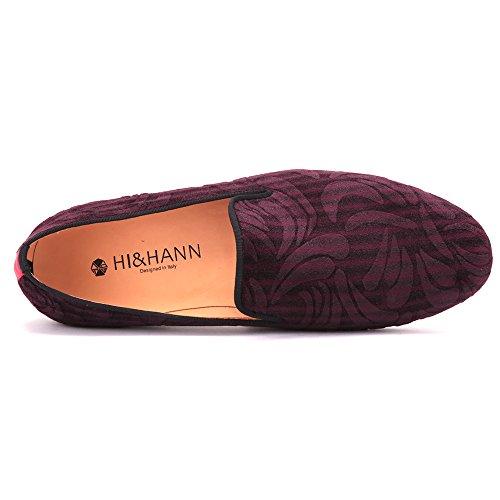 Hi & Hann Scarpe Da Uomo Artigianali Rosse Di Alta Qualità Con Slipper Da Mocassino Slip-on In Stampa Paisley