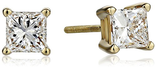 IGI-Certified 18k Yellow Gold Princess-Cut Diamond Stud Earrings (1 cttw, H-I Color, SI1-SI2 Clarity)