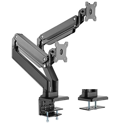 WALI Dual Monitor Gas Spring Desk Mount Heavy Duty Aluminum Fully Adjustable Fit Screen up to 35 inch, 33 lbs Each Screen, VESA 75 and 100 (GSM002XL), Black