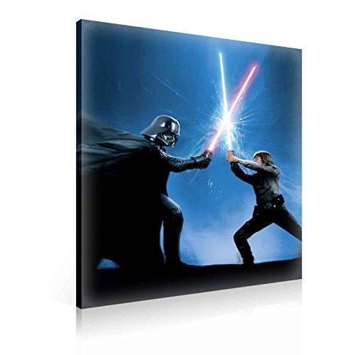 Ready to Hang Canvas Wall Art - Star Wars Luke Skywalker Darth Vader Battle Light Sabor Fight - XXL - 39
