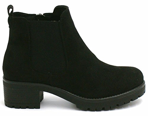 UK Shoes Chelsea Ladies 7 Mid Boots Biker Back Ankle Heel Block Womens Size Platform Suede Chunky YqOwTqHpv