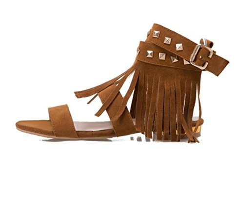 SHFANG shoes Women's Sandals/Tassels, Rivets/Flats, Girls/Students, Shopping/Daily, 2CM, 33-41 Brown