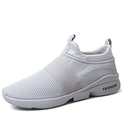 LANYIER Damen Herren Turnschuhe Schuhe Sportschuhe Laufschuhe Sneaker Slip on Atmungsaktiv Leichte Wanderschuhe C Grau