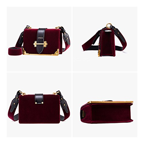 Cross Leather Shoulder Body Vlevet Burgundy Bag Ladies for LA'FESTIN Handbag ZYwaE5q5