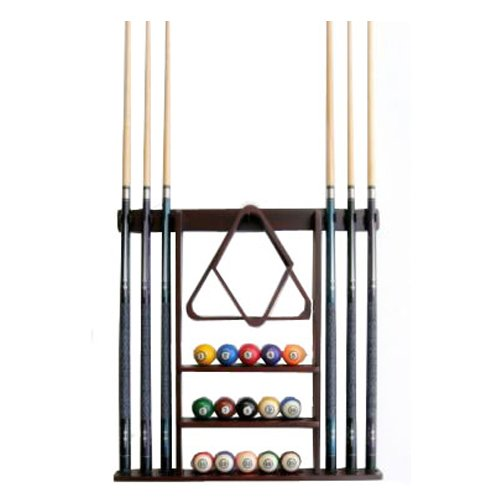 Iszy Billiards F15001 6 Pool Cue - Billiard Stick Wall Rack Made of Wood, Mahogany Finish (Kit Accessories Pool Table)