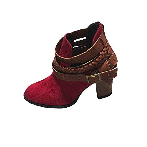 Schuhe Stiefel Ferse Winter Mode Stiefelette Rot Damen Damen Gewebte Stiefel Herbst Keile Schnalle Hochzeit Party VJGOAL Boho Niet aR7nx6A