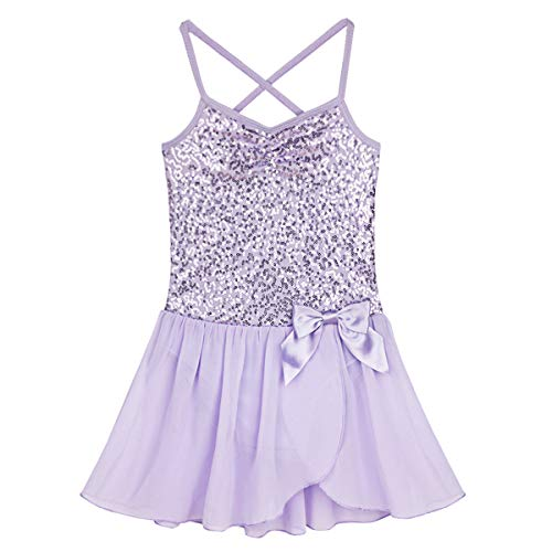 FEESHOW Girls Sequined Camisole Ballet Dress Leotard Chiffon Skirt Sparkly Fairy Dance wear Costumes Lavender 5-6]()