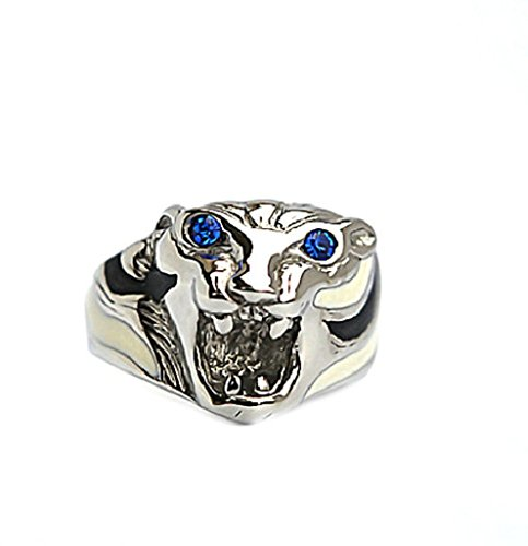 Men's Stainless Steel Finger Rings Vintage Tiger Head with Blue Eyes Silver 2cm Size 9