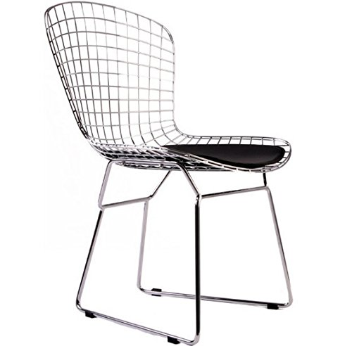 (Bertoia Style Wire Side Dining Chair In Chrome Finish (Black Seat Pad))