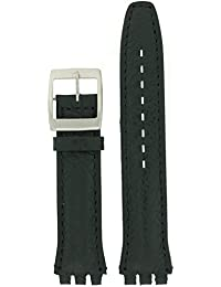 Swatch Style Watch Band Black Italian Leather 17 millimeters