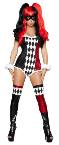 Roma Costume 2 Piece Sexy Jokester Costume, Black/Red, Large - Sexy Harley Quinn Costumes