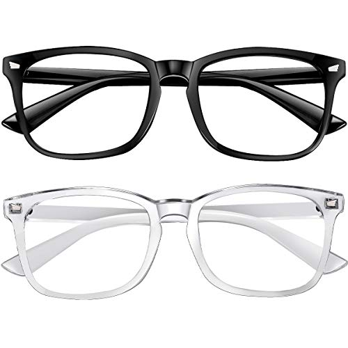 Blue Light Blocking Glasses 2pack Square Computer Glasses Women/Men, Nerd Reading Gaming Glasses Non Prescription (black/touming)