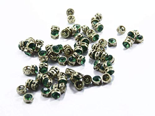 The Design Cart Green Circular Golden Kundan Stones, 1 cm, for Jewellery Making,Craft,Embroidery,Saree,Blouse Work and Dress Making (Pack of 100 Pieces)