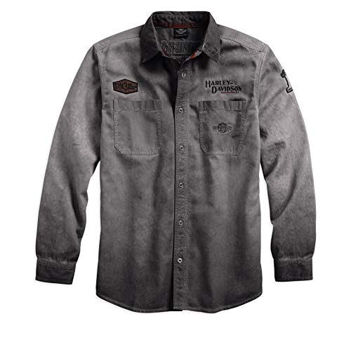 HARLEY-DAVIDSON Official Men's Iron Block Long-Sleeve Shirt, Grey (Large)