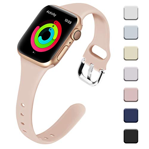 (Allbingo Thin Bands Compatible with Apple Watch Band 38mm 40mm 42mm 44mm, Feminine Women Narrow Slim Silicone Replacement Wristbands for iWatch Series 4/3/2/1 )