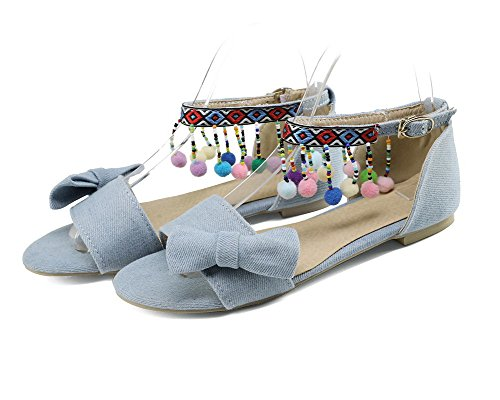 Buckle VogueZone009 Heels Women Toe Solid Low Sandals LightBlue Open xvYFq