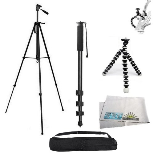 3 Piece Tripod Package for Olympus OM, Pen, SP, C, E Series Cameras. Includes Professional 75