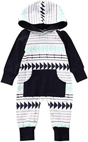 Baby Boys Girls Jumpsuit Hoodie Romper Outfit Long Sleeve Creepers Bodysuit Clothes