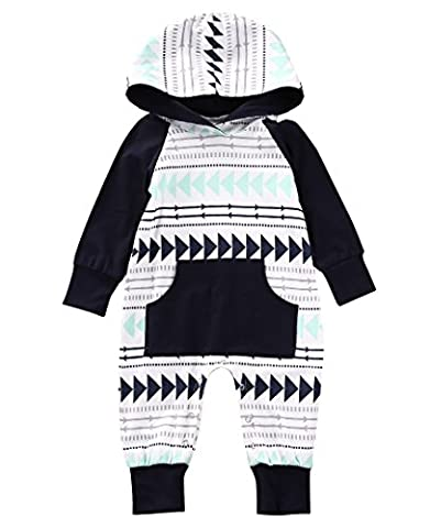 Baby Boys Girls Jumpsuit Hooded Romper Outfit Long Sleeve Onesie With Pocket (0-9Months, White) - Jumpsuit Coat