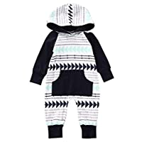 Baby Boys Girls Jumpsuit Hooded Romper Outfit Long Sleeve Onesie With Pocket ...
