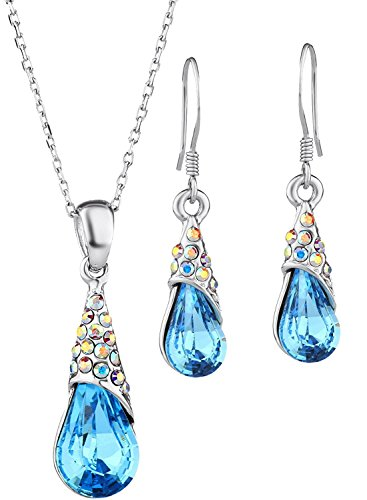 rop Pendant Necklace & Earrings Fashion Jewelry Sets Made with Swarovski Elements Crystal ♥Valentines Day Gift♥ Bridesmaid Women Jewelry (Multi Color Crystal Heart Earrings)