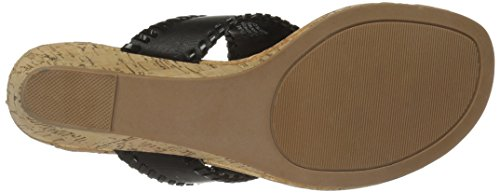 Women's Cork Wedge Low Black Rampage Scheena Sandal black Thong PaxwyqFz