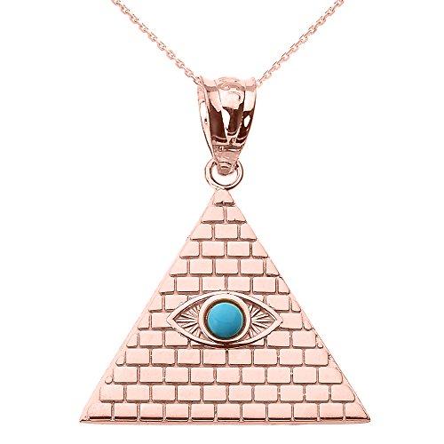 Collier Femme Pendentif 14 Ct Or Rose Égyptien Pyramide avec Turquoise Mauvais Œil (Livré avec une 45cm Chaîne)