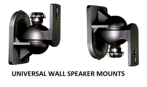 EZ Mounts -(1 Pair) Universal satellite surround sound speaker mounts / Brackets / Stands Max weight 7.5 lbs - Fits rear mounting speakers such as Bose, Yamaha, Samsung, Sony, Vizio, Phillips, LG, JBL, Onkyo, Pioneer, Polk, Logitech, Cinemate, Lifestyle & Acoustimass Systems