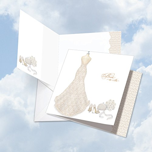 JQ5060BTG Jumbo Bachelorette Square-Top Card: Bride-To-Be Featuring An Artsy Image Of A Bridal Dress Form, with Envelope (Extra Large Size: 8.25