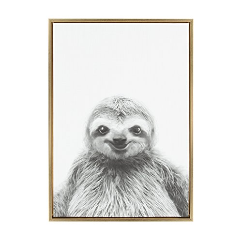Kate and Laurel - Sylvie Animal Print Sloth Black and White Portrait Framed Canvas Wall Art by Simon Te Tai, Gold 23x33