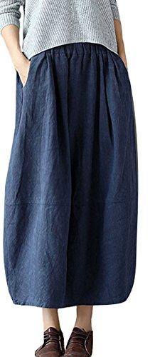 Soojun Women's Vintage Loose Linen Elastic Waist Pleated Midi Skirt, Navy ()