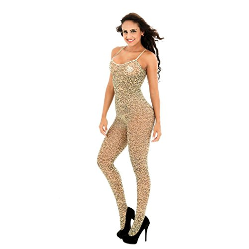 Mirlun Damen Exotisch Bodystocking Leopard Jacquard Dessous