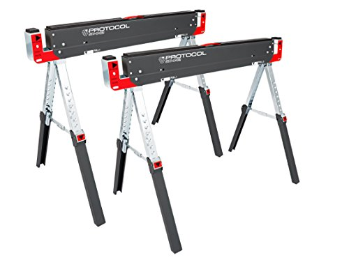 PROTOCOL Equipment 92786 42-Inch Adjustable Height Metal Folding Sawhorse, Set of 2