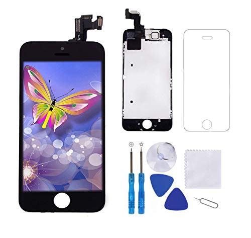 Screen Replacement for iPhone 5S Black 4.0 Inch LCD Display Screen Touch Digitizer Frame Assembly Full Repair Kit,with Proximity Sensor,Ear Speaker,Front Camera,Screen Protector,Repair Tools