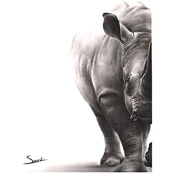 Rhino Painting, Rhino Print, Black Rhino Art, Rhino Decor, Rhino Wall Art