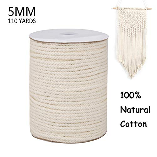 SUROY Macrame Cord 5mm 110 Yards 100% Natural Cotton Macrame Rope Undyed 4 Strand Twisted Macrame Cotton Cord for Plant Hanger Wall Hanging Gift Wrapping Handmade Craft Making