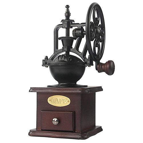 Manual Coffee Grinder Antique Cast Iron Hand Crank Coffee Mill With Grind Settings & Catch Drawer by moon-1
