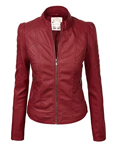 Made By Johnny MBJ WJC746 Womens Vegan Leather Motorcycle Jacket L Wine (Womens Maroon Leather Jacket)