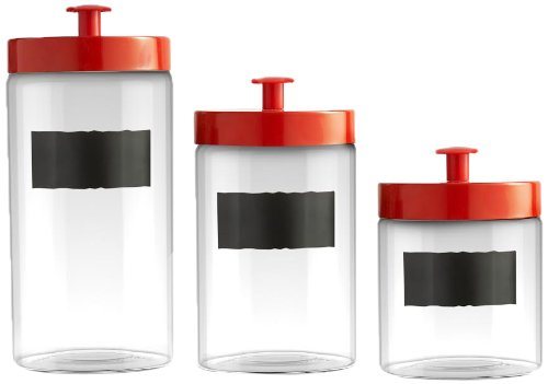 Style Setter Chalkboard Label Canisters with Glass Lids, Set of 3, Clear Jay Imports 203777-GB