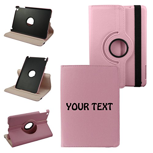 IPad Your Text 2nd Generation, 3rd Generation, 4th Generation Cover Synthetic Leather Rotating Ipad Case: 360 Degrees Multi-angle Vertical and Horizontal Stand with Strap (Pink)