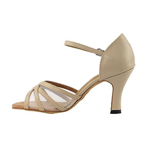 """50 Shades Of Tan Dance Kleid Schuhe Collection-II, Komfort Abendkleid Hochzeit Pumps: Ballroom Schuhe für Latin, Tango, Salsa, Swing, Kunst von Party Party (2,5 """", 3"""" & 3,5 """"Heels) 6027 (1605) Tan Leder & Fleisch Mesh"""