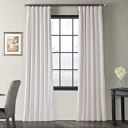 Off White Pocket - Half Price Drapes VPCH-110602-96 Signature Blackout Velvet Curtain, Off White, 50 X 96