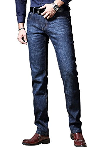FEESON Men's Stretchy Winter Velvet Fleeced Lined Thicken Straight Fit Jeans