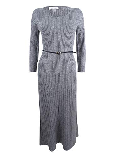 Calvin Klein Belted Lurex Ribbed Midi Sweater Dress, Silver Grey, Size M ()