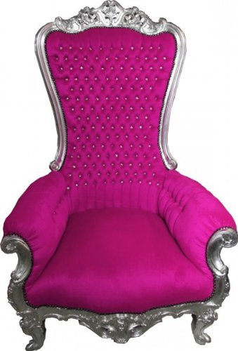 Casa Padrino Barock Thron Sessel Majestic Pink/Silber mit Bling Bling Glitzersteinen - Riesensessel -Thron Stuhl Tron