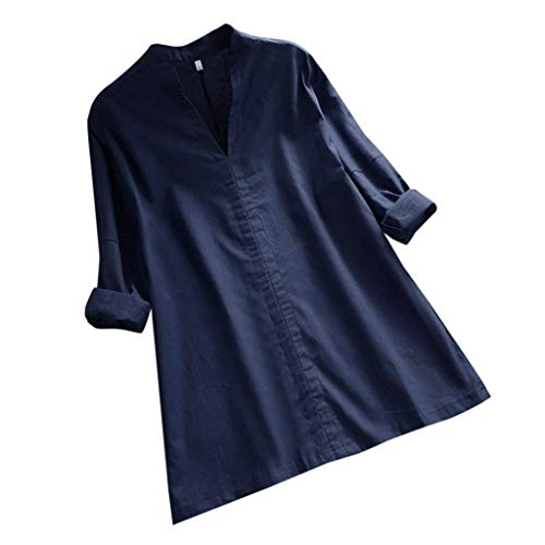 JOFOW Blouses Womens Plus Size Cotton Linen Solid Casual Loose Long Sleeve Pajamas Tops V Neck Sexy Elegant Workwear Shirts (3XL,Blue)
