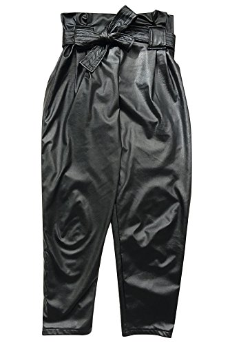 Fadvanes Womens Sexy Black PU Faux Leather Long Pants Trousers With Belt L by Fadvanes (Image #7)