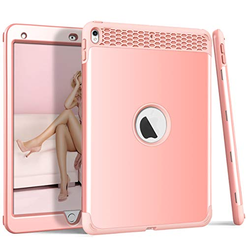 iPad Pro 10.5 Case 2017, ZERMU 3in1 Honeycomb Heavy Duty Shockproof Hard Plastic Cover+Impact Resistant Silicone Rubber Protective Armor Defender Full Body Protective Case for iPad Pro 10.5 Inch ()